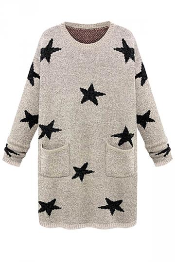 Khaki Fashion Star Pattern Crew Neck Sweater Dress
