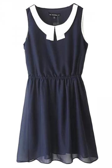 Navy Blue Ladies Peter Pan Collar Shirt Chiffon Smock Tank Dress