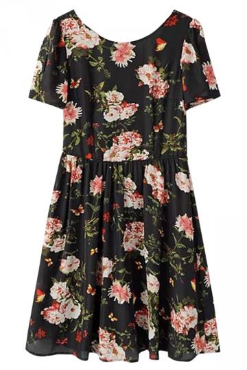 Black Sexy Womens Vintage Flowers Printed Slim Fancy Smock Dress