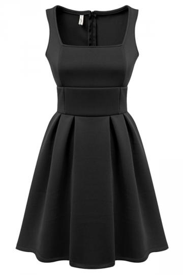Black Fancy Ladies Sleeveless Slim Sexy Plain Skater Dress