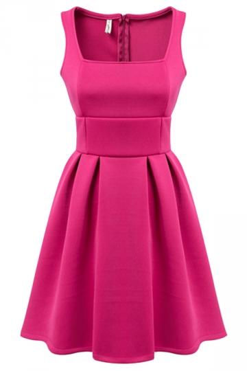 Rose Red Fancy Ladies Sleeveless Slim Sexy Plain Skater Dress