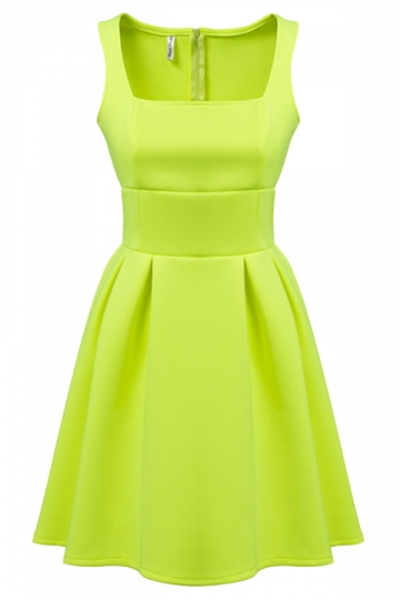 Yellow Fancy Ladies Sleeveless Slim Sexy Plain Skater Dress