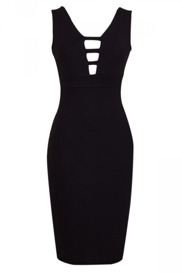 Black Sleeveless Sexy Cut Out Womens V Neck Midi Dress