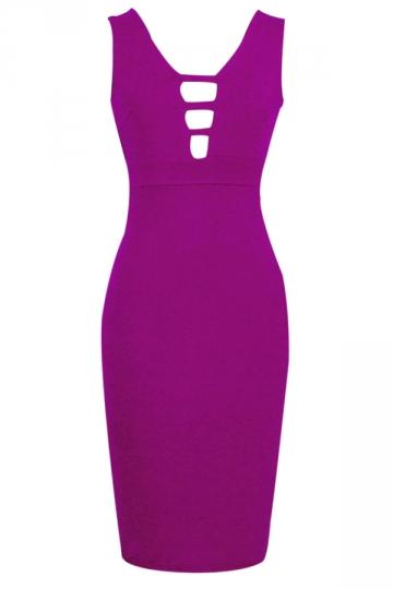 Purple Sleeveless Sexy Cut Out Womens V Neck Midi Dress