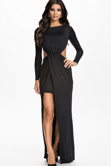 Womens Boat Neck Long Sleeve Plain Slit Pleated Peplum Dress