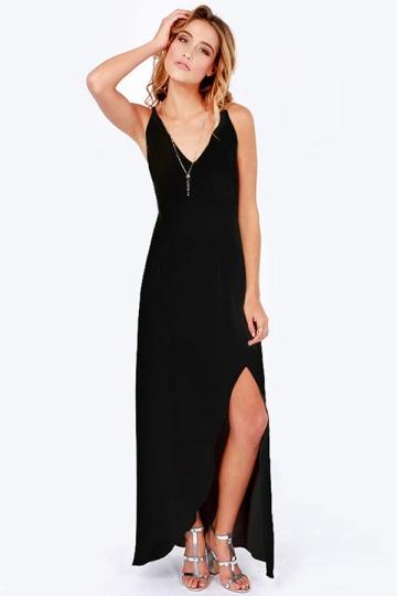 Black Trendy Womens V-neck Backless Slit Sleeveless Maxi Dress