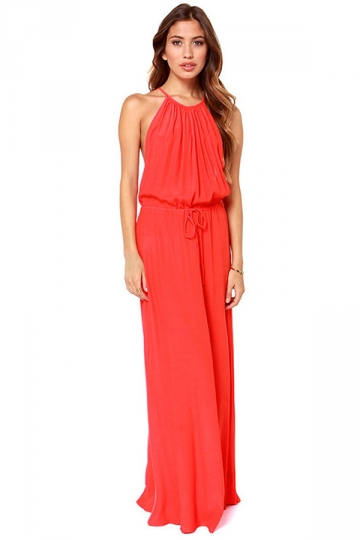 Red Modern Womens Crew Neck Sleeveless Tunic Cut Out Maxi Dress