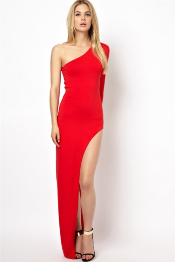 Red One Shoulder Sexy Slit Womens Elegant Plain Maxi Dress
