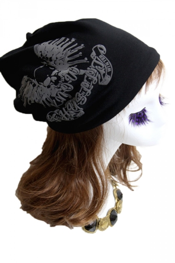 Black Womens Skull Printed Cool Lined Hat