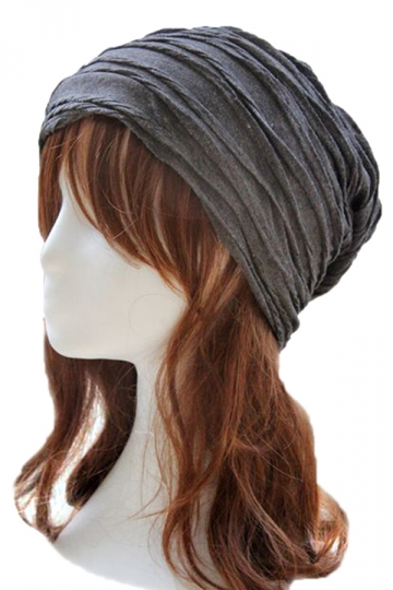 Gray Pleated Womens Chic Casual Hat