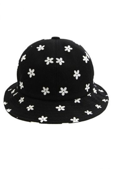 Black Modern Ladies Color Block Daisy Printed Hat