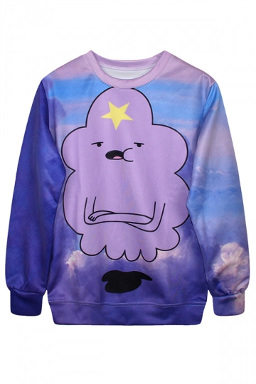Ladies Crew Neck Jumper Cartoon Cloud Star Printed Sweatshirt