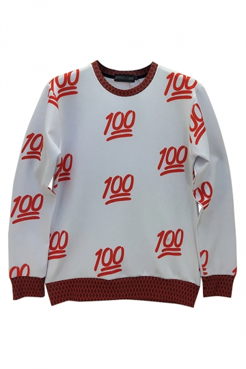 Red Ladies Crew Neck Jumper 100 Number Printed Sweatshirt