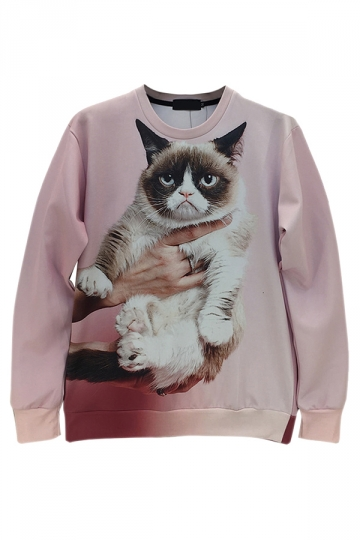 Pink Chic Womens Pullover Crew Neck Grumpy Cat Printed Sweatshirt