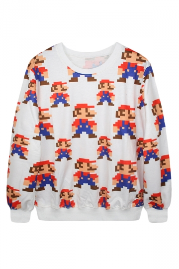 White Ladies Crew Neck Pullover Super Mario Printed Sweatshirt
