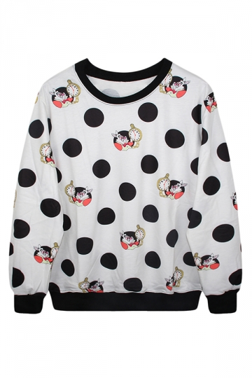 Crew Neck Jumper Alice in Wonderland Rabbit Printed Sweatshirt