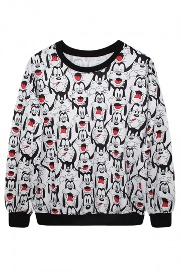 Black Ladies Crew Neck Pullover Cartoon Goofy Printed Sweatshirt
