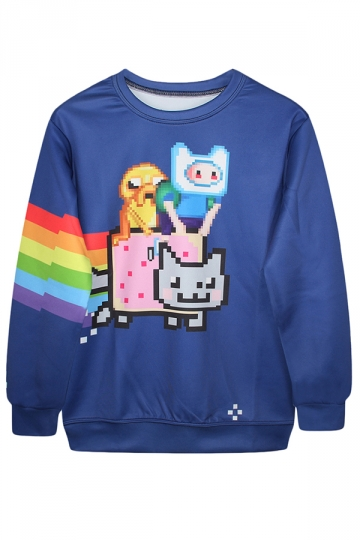Blue Trendy Womens Crew Neck Jumper Nyan Cat Printed Sweatshirt