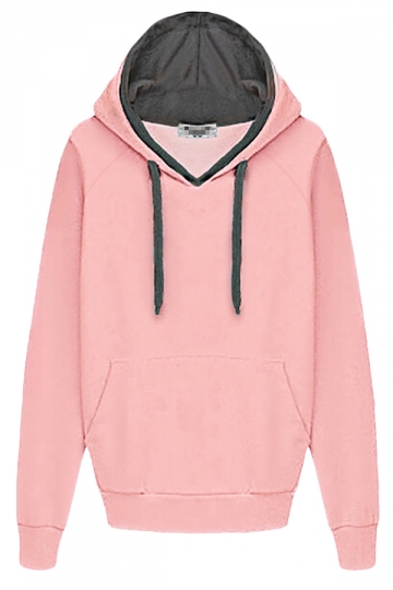 Pink Womens Fleeces Casual Plain Long Sleeves Hoodie