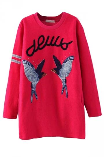 Ladies Pullover Crew Neck Long Sleeve Bird Printed Sweatshirt