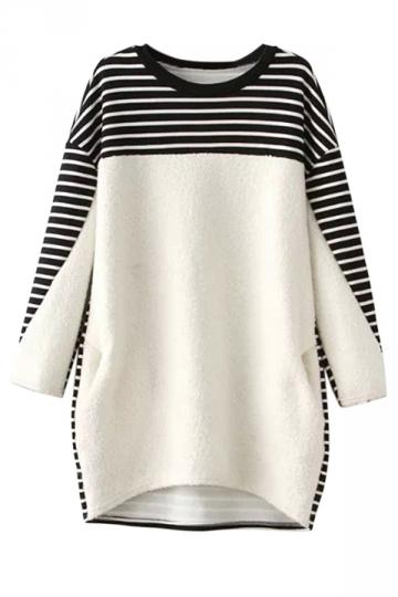 White Womens Crew Neck Jumper Stripe Thick Printed Sweatshirt