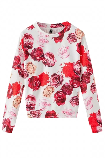 Red Modern Womens Crew Neck Pullover Rose Printed Sweatshirt