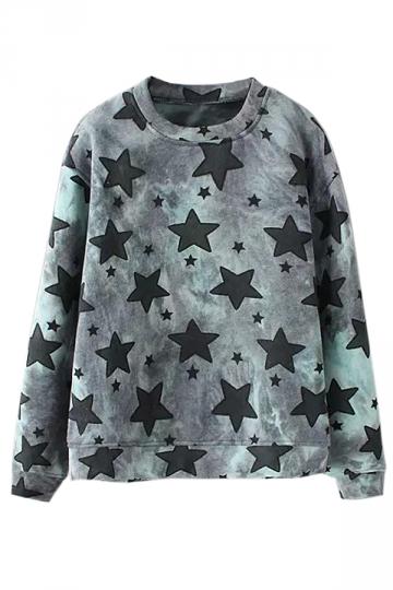 Green Fashion Ladies Crew Neck Pullover Star Printed Sweatshirt