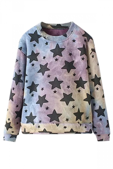 Pink Fashion Ladies Crew Neck Pullover Star Printed Sweatshirt