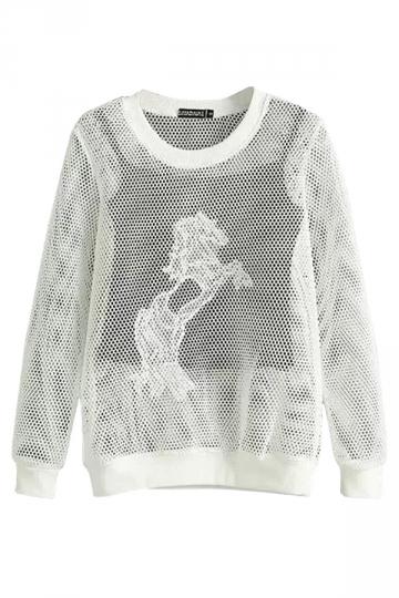 Crew Neck Mesh Sheer Unicorn Embroidery Tank Printed Sweatshirt