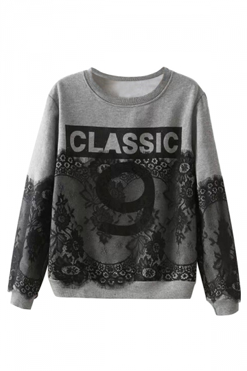 Crew Neck Lace Patchwork Alphabet Jumper Printed Sweatshirt
