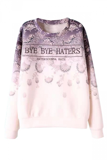 White Trendy Womens Crew Neck Gradient Letters Printed Sweatshirt