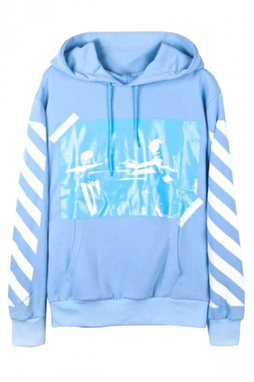 Blue Thick Ladies Printed Hip-hop Fashion Pullover Hoodie