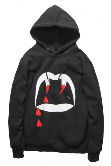 Black Cool Womens Vampire Fang Printed Lined Hoodie