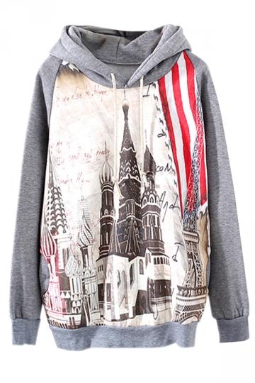 Gray Pretty Ladies Long Sleeve Thick Petersburg Printed Hoodie