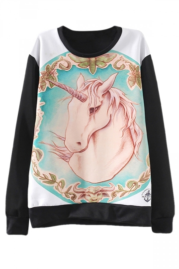 Black Trendy Womens Crew Neck Jumper Unicorn Printed Sweatshirt