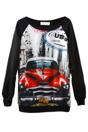 Black Cool Ladies Jumper Cat Crew Neck Printed Sweatshirt