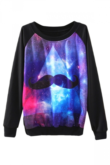 Black Ladies Crew Neck Galaxy Mustache Jumper Printed Sweatshirt
