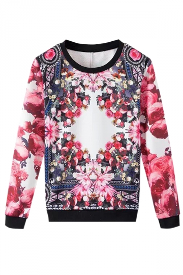 Red Retro Ladies Crew Neck Pullover Rose Printed Sweatshirt