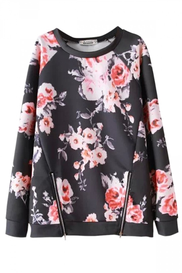 Black Ladies Crew Neck Pullover Flower Printed Sweatshirt