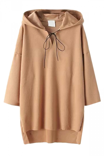 Khaki Womens Jumper Lace Up Woolen High Low Plain Hoodie