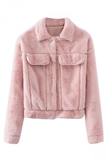 Pink Womens Lapel Faux Fur Trendy Long Sleeves Jacket