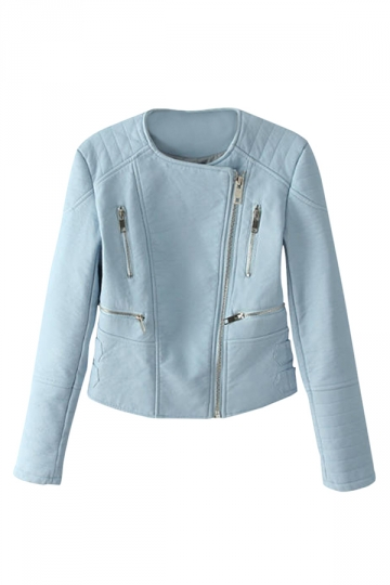 Blue Slim Ladies Zipper PU Leather Cool Vintage Jacket