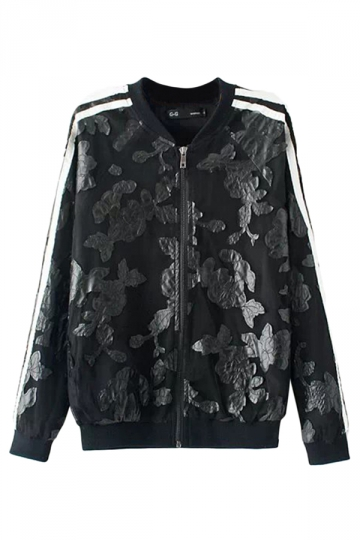 Black Cool Ladies Stripe Flower Leather Patchwork Jacket