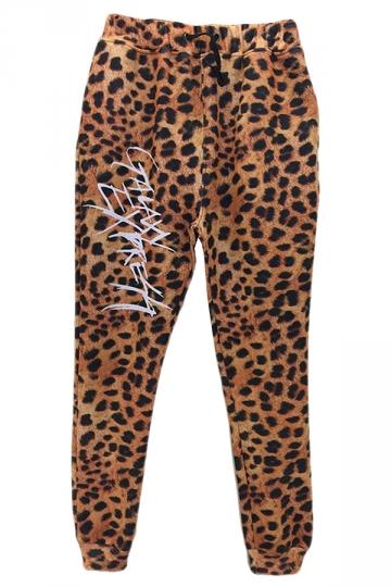 Brown Casual Womens Leopard Printed Loose Sweatpants