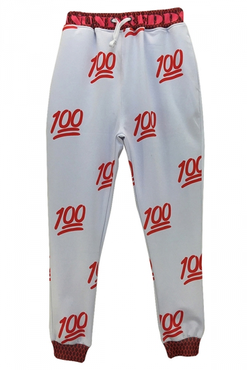 White Ladies Funny 100 Points Printed Casual Sweatpants