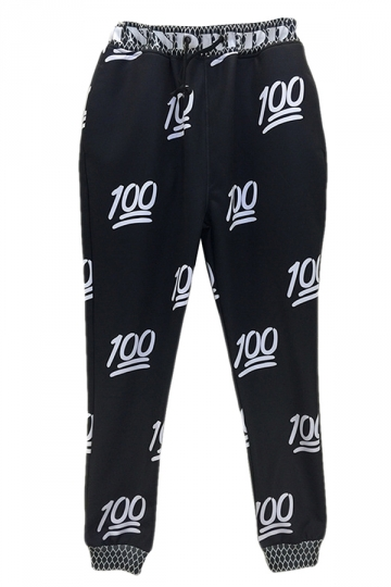 Black Womens 100 Points Printed Cute Jogging Sweatpants