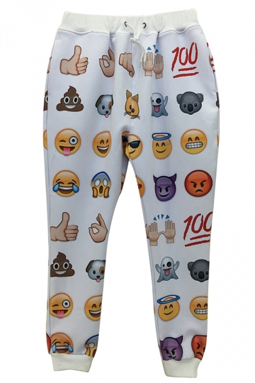 White Womens Cute Emoji Printed Loose Sweatpants