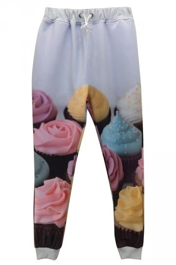 White Ladies Cute Cupcake Printed 3D Sweatpants
