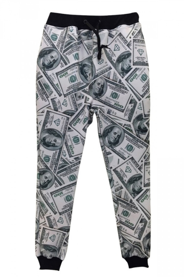 White Ladies Dollars Printed Fun Loose Jogger Sweatpants