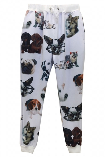 White Cats and Dogs Printed Ladies Loose Jogging Sweatpants